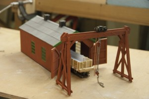 Charlie Hudsons On30 Freight car Repai shop and Shearlegs
